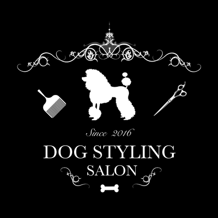 Logo for dog hair salon, styling and grooming shop, store for dogs. Vector illustration Archivio Fotografico - 104236702