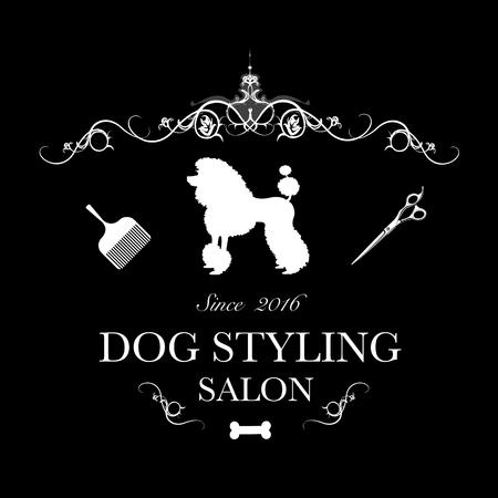 Logo pour salon de coiffure pour chiens, boutique de coiffage et de toilettage, magasin pour chiens. Illustration vectorielle