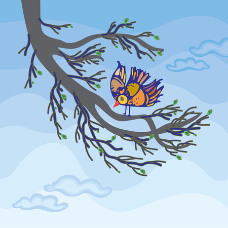 Spring landscape with bird on tree branch with blossoming buds. Orange bird on twig with blue sky in background. Vector Illustration