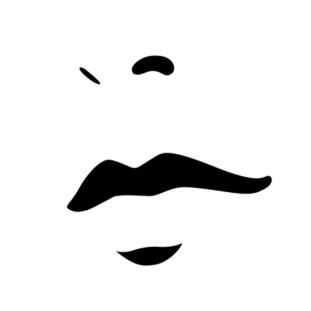 Woman face icon. Female face with big sensual lips and beautiful nose. Vector Illustration Illustration