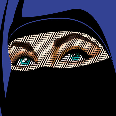 Beautiful Muslim woman in traditional burka clothes with semi-transparent eyes zone. Vector Illustration