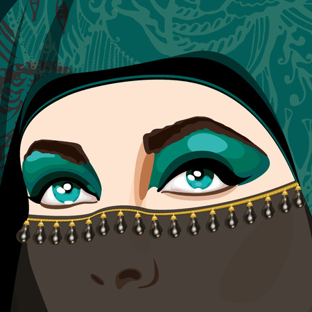 Beautiful Muslim woman in traditional designer niqab clothers with bright make-up and open eyes of green color. Vector Illustration