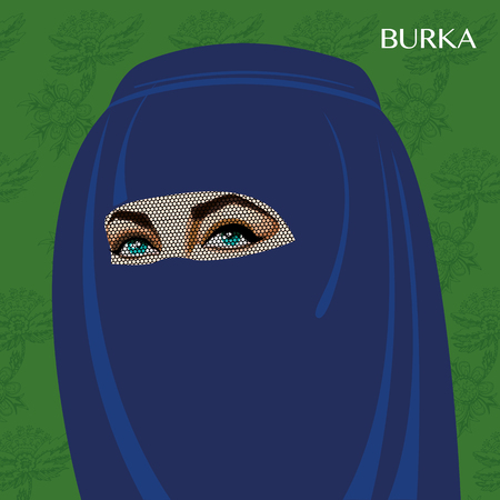 Varieties of traditional Muslim womens clothes - burka. Look and rules of wearing Islamic clothing. Vector Illustration