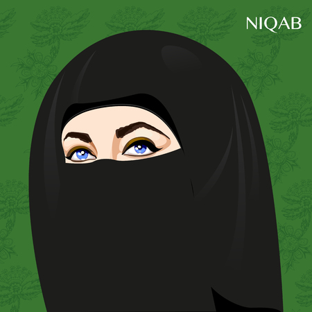 Varieties of traditional Muslim womens clothes - niqab. Look and rules of wearing Islamic clothing. Vector Illustration Illustration