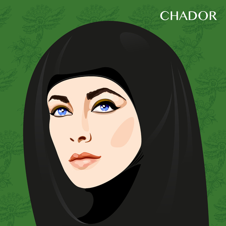 Varieties of traditional Muslim womens clothes -chador. Look and rules of wearing Islamic clothing. Vector Illustration