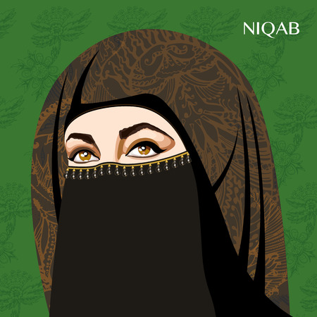 Varieties of traditional Muslim women's clothes - niqab. Look and rules of wearing Islamic clothing. Vector Illustration Vetores