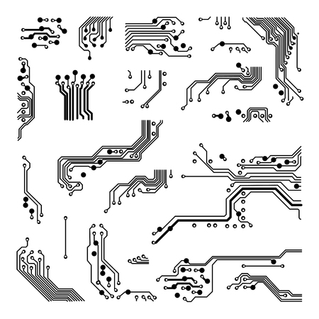 abstract vector background with high tech circuit board Vector Illustration  イラスト・ベクター素材