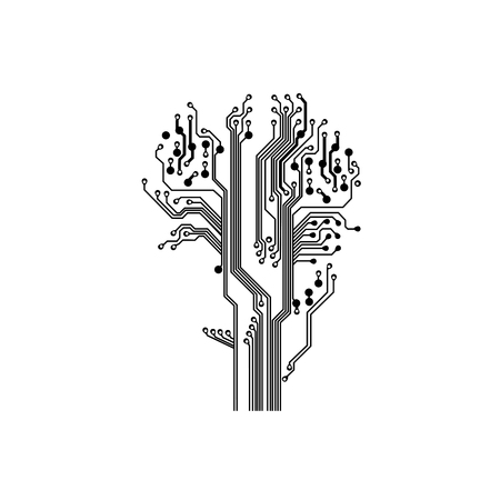 tree in circuit board style Vector Illustration