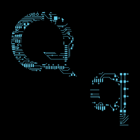 Circuit board alphabet letter Q Vector Illustration