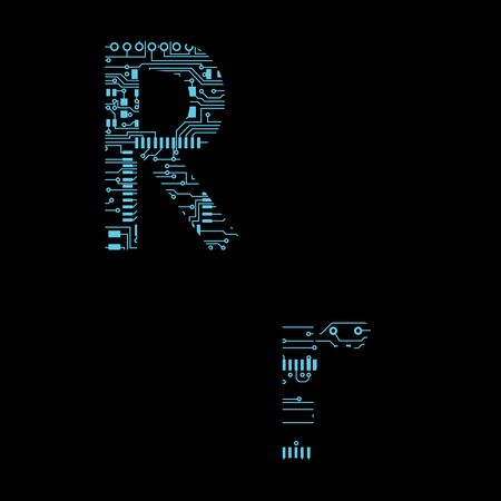 Circuit board alphabet letter R Vector Illustration