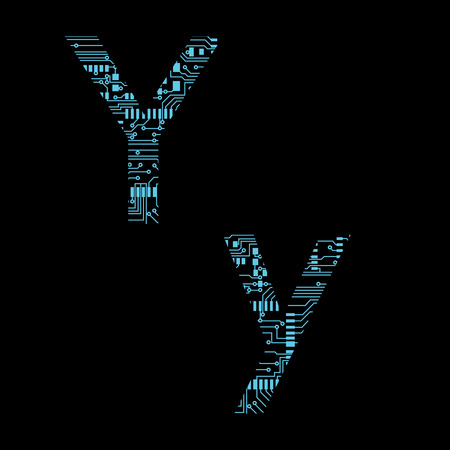 Circuit board alphabet letter Y Vector Illustration