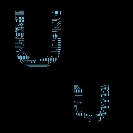 Circuit board alphabet letter U Vector Illustration
