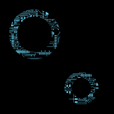 Circuit board alphabet letter O Vector Illustration 向量圖像