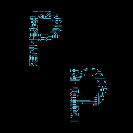 Circuit board alphabet letter P Vector Illustration