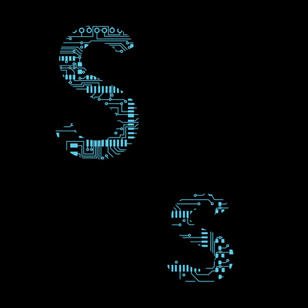 Circuit board alphabet letter S Vector Illustration