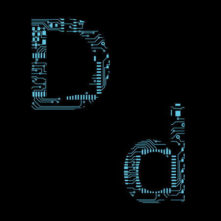 Circuit board alphabet letter D Vector Illustration