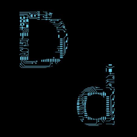 Płytka drukowana alfabet litera D ilustracja wektorowa