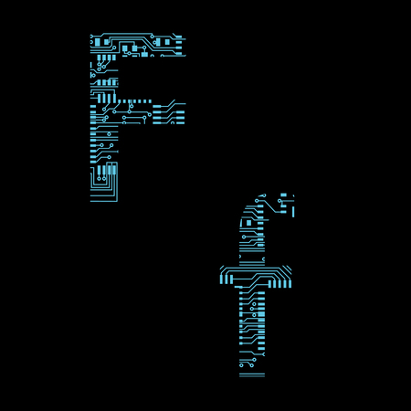 Circuit board alphabet letter F Vector Illustration