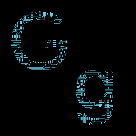 Circuit board alphabet letter G Vector Illustration