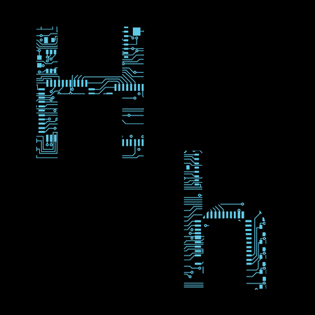 Circuit board alphabet letter H Vector Illustration