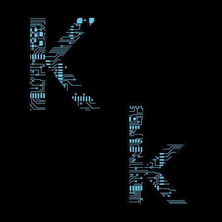 Circuit board alphabet letter K Vector Illustration