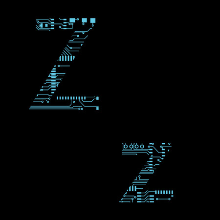 Circuit board alphabet letter Z Vector Illustration