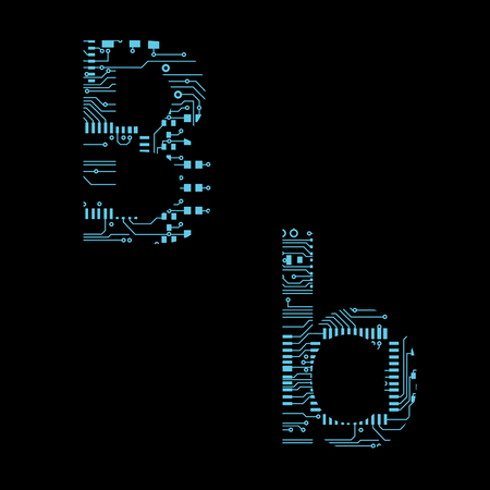 Circuit board alphabet letter B Vector Illustration 向量圖像