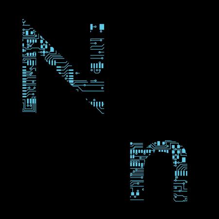 Circuit board alphabet letter N Vector Illustration 일러스트