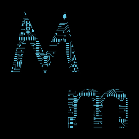 Circuit board alphabet letter M Vector Illustration