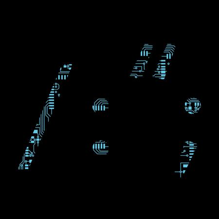 Leiterplatte Symbol Solidus Schrägstrich Doppelpunkt Zitat Semikolon Vektor Vektor-Illustration