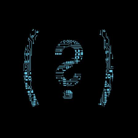 Circuit board symbol open close parenthesis question mark Vector Illustration