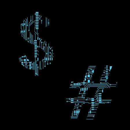 Circuit board symbol dollar number Vector Illustration 向量圖像