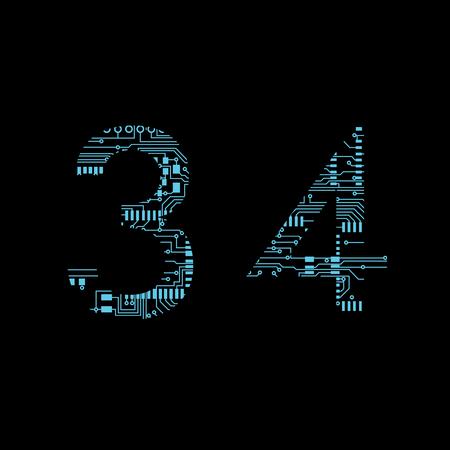Circuit board digit 3 4 Vector Illustration 일러스트