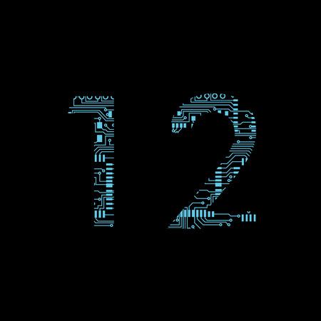 Placa de circuito dígito 1 2 ilustración vectorial