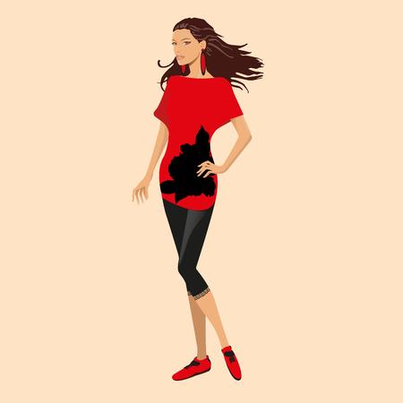 Fashionable sporty girl Illustration