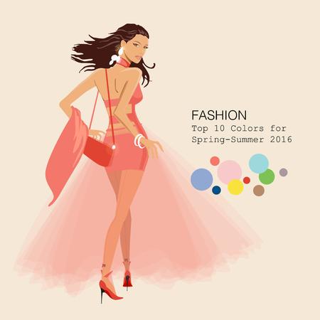 Modieuze vrouw in stijlvolle kleding in de topkleuren van het seizoen 2016
