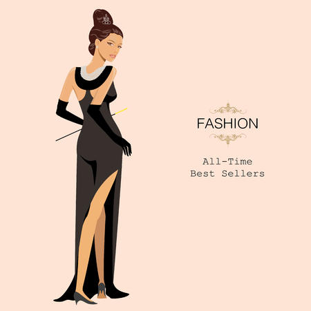 Fashionable woman in stylish clothes. All-time fashion best sellers. Vector Illustration.