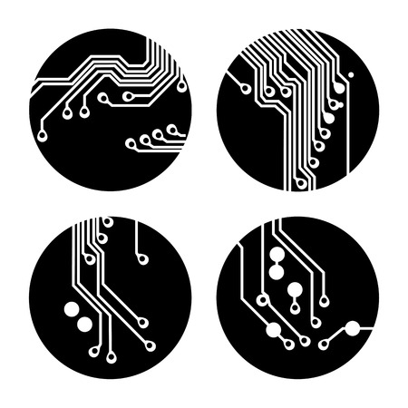 Set of circuit board icons Vector Illustration