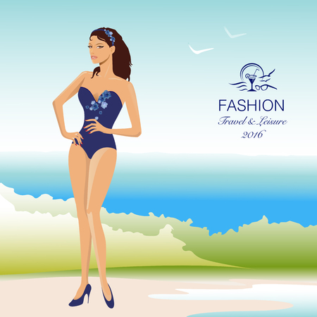 Beautiful, stylish woman in swimsuit on beach. Vector Illustration