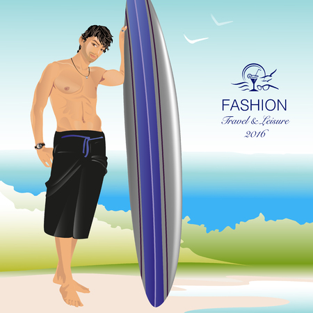 Sporty athletic man with surfboard on beach Vector Illustration Illustration