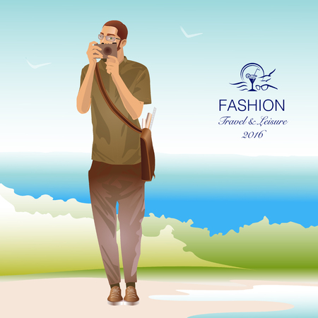 Handsome male tourist with camera on beach. Vector Illustration  イラスト・ベクター素材
