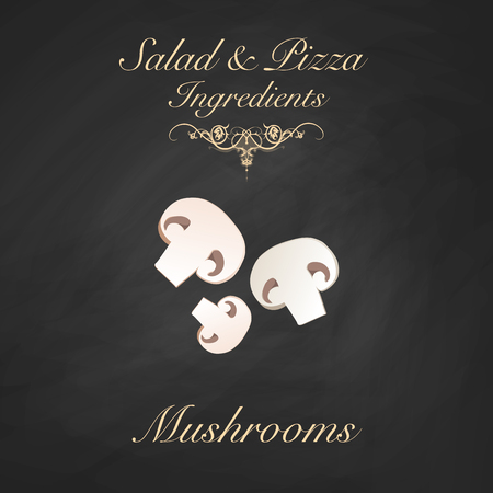 Salad and pizza ingredients - sliced button mushrooms. Vector Illustration