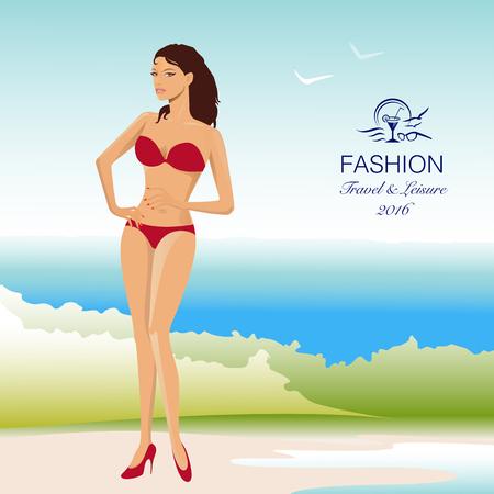 Beautiful, stylish woman in bikini swimsuit on beach. Vector Illustration