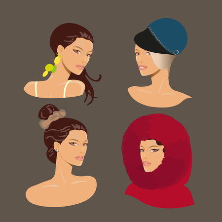 Avatars of female faces with different haircuts, hairstyles and hats. Vector Illustration