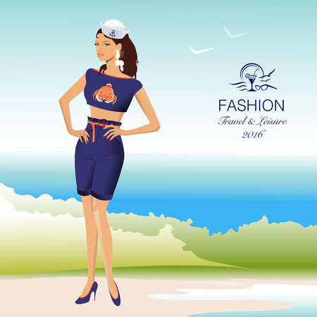 Beautiful stylish woman in sailor, marine uniform on beach. Fashion model. Vector Illustration