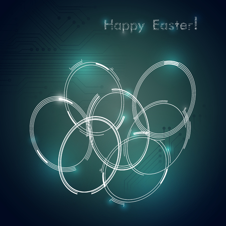 Modern tech-style Easter eggs on circuit board style background. Happy Easter greeting card. Vector Illustration