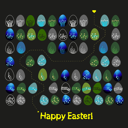 Labyrinth or maze made of Easter eggs in circuit board style. Happy Easter greeting card. Vector Illustration