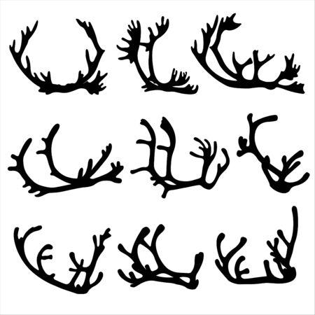 Set of reindeer antlers. Vector Illustration