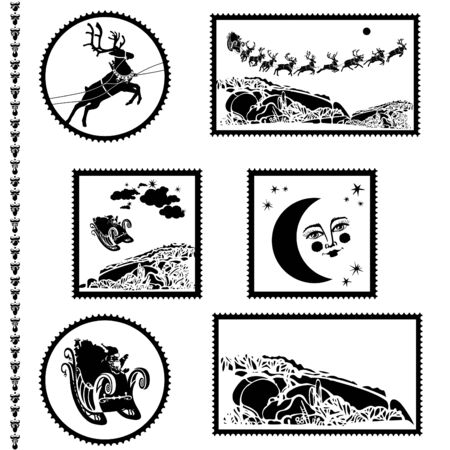 Christmas and New Year postal stamps. Stamps with Santa Claus sleigh and reindeers and other images. Vector Illustration
