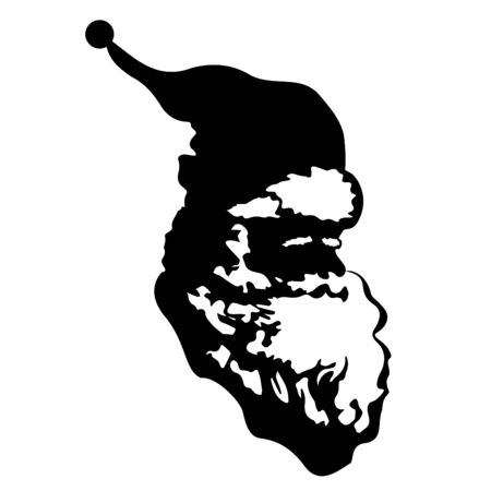 Santa Claus icon. Head of Santa with long beard and traditional hat. Vector Illustration